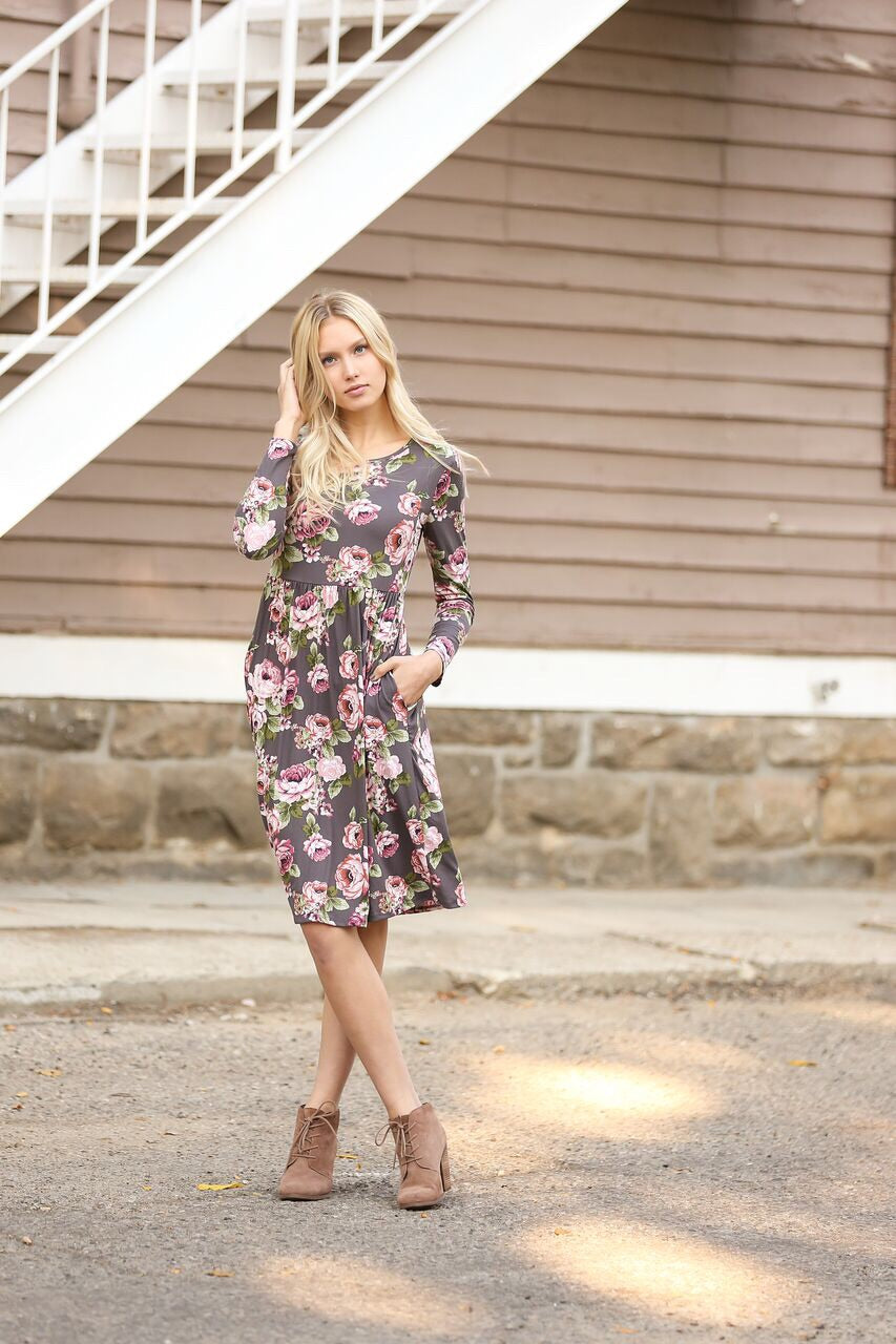 Delighted Floral Dress in Charcoal