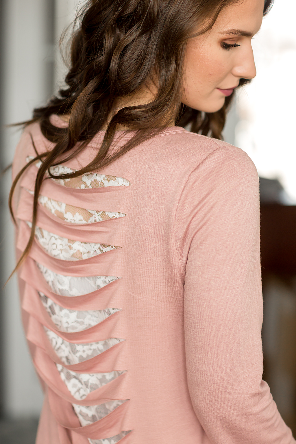 It's In The Details Lace Cut Out Top in Blush