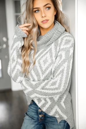 Totally Over You Gray and Ivory Sweater