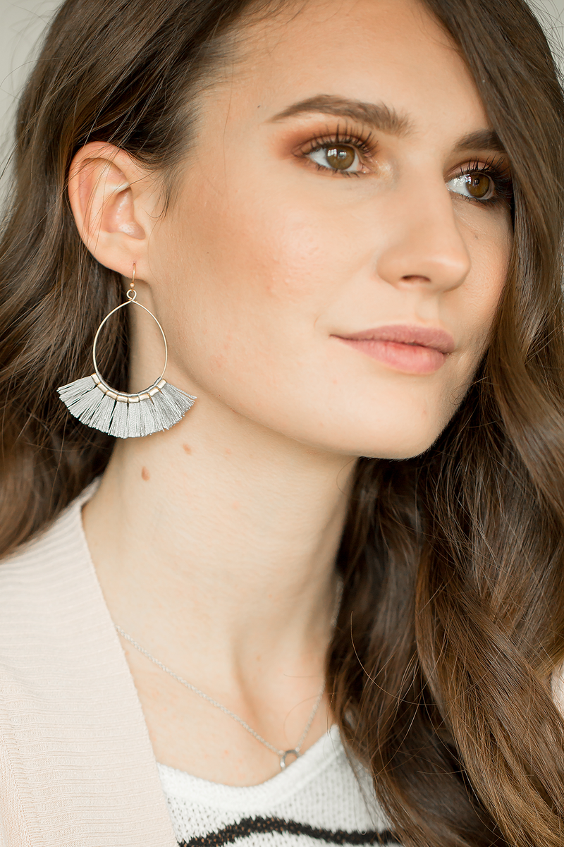 Ashley Fringe Earrings in Gray