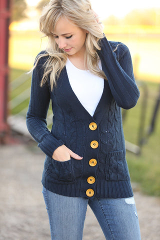 Sweater Weather Button Up Sweater in Navy (SALE)