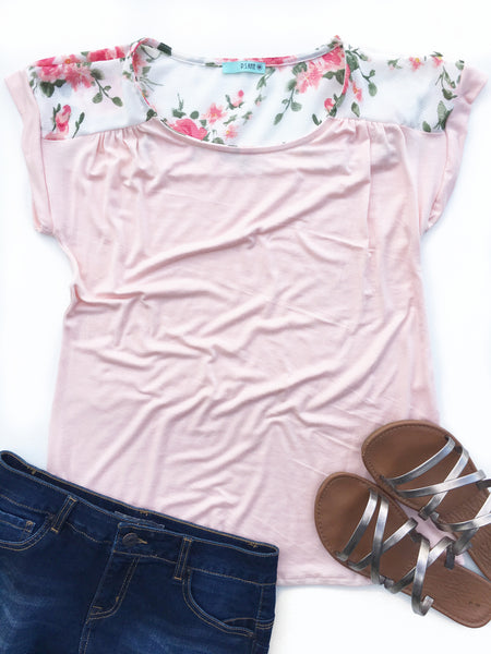 Style and Simplicity Floral Top in Pink