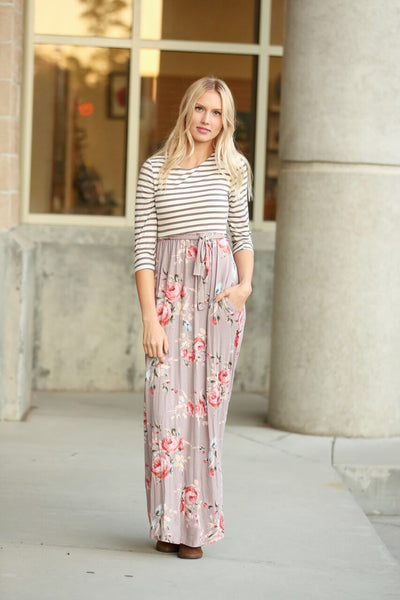 Feeling Fabulous Striped and Floral Maxi Dress in Mocha (SALE)