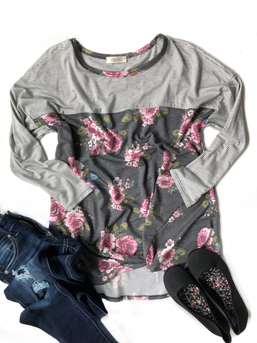Missing You Floral Twist Top in Charcoal