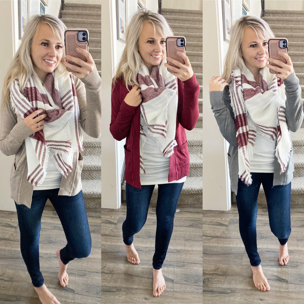 Plaid Blanket Scarf- White and Red