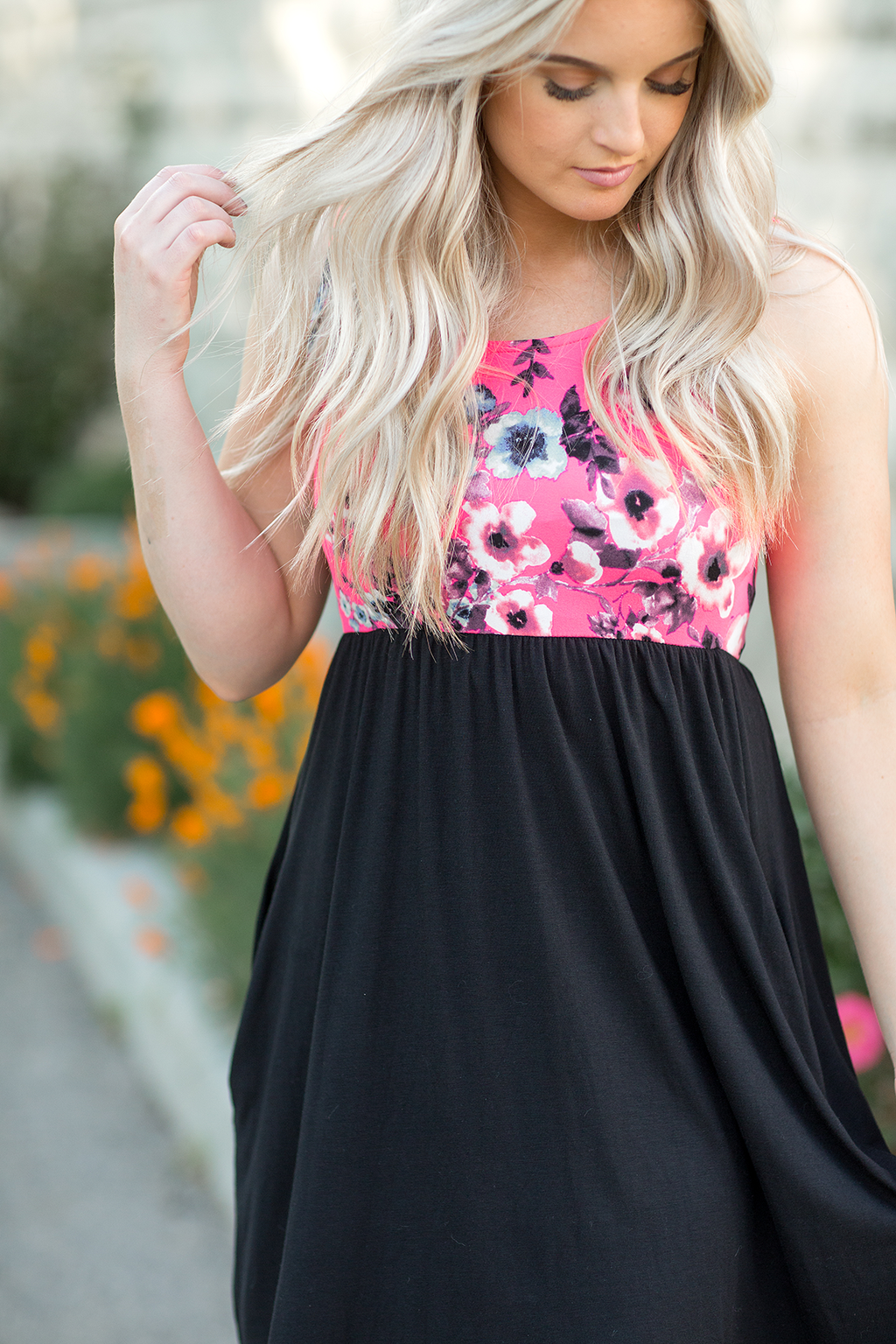 Save The Date Dress in Pink Floral and Black (SALE)