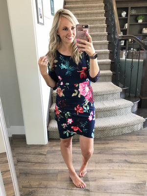 In Your Eyes Floral Dress in Navy