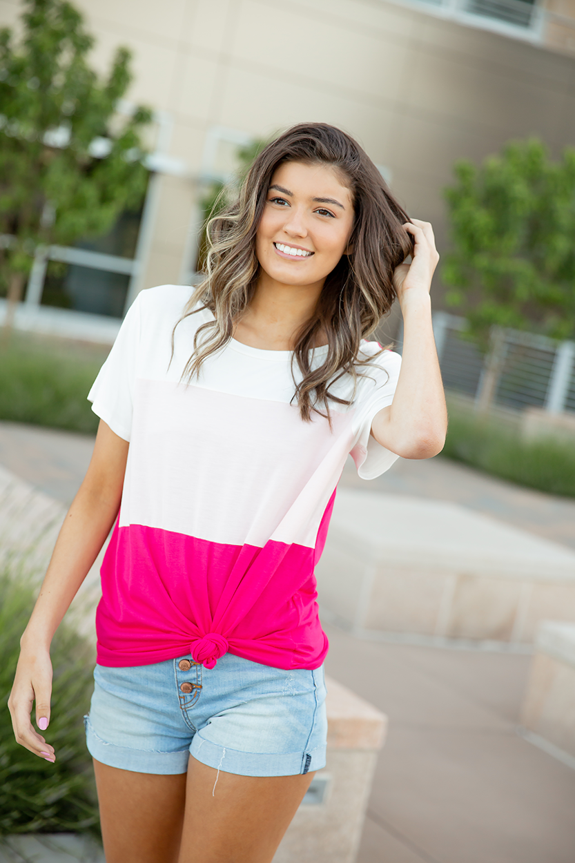 Better Believe It Color Block Top in Pink