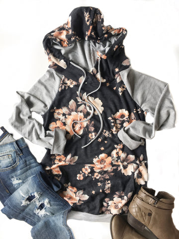 Oh Happy Day Floral Hoodie in Black and Heather Gray