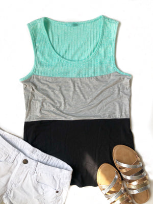 Sincerely Yours Color Block Tank in Mint, Gray and Black
