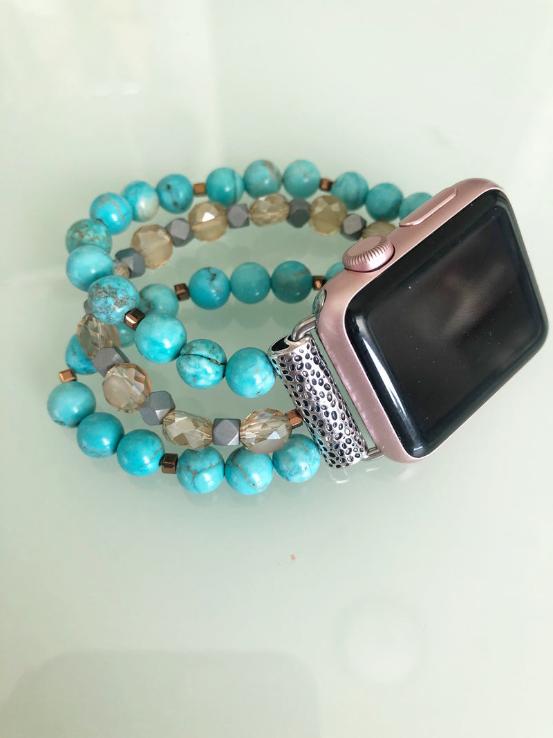 Beaded Apple Watch Band in Turquoise