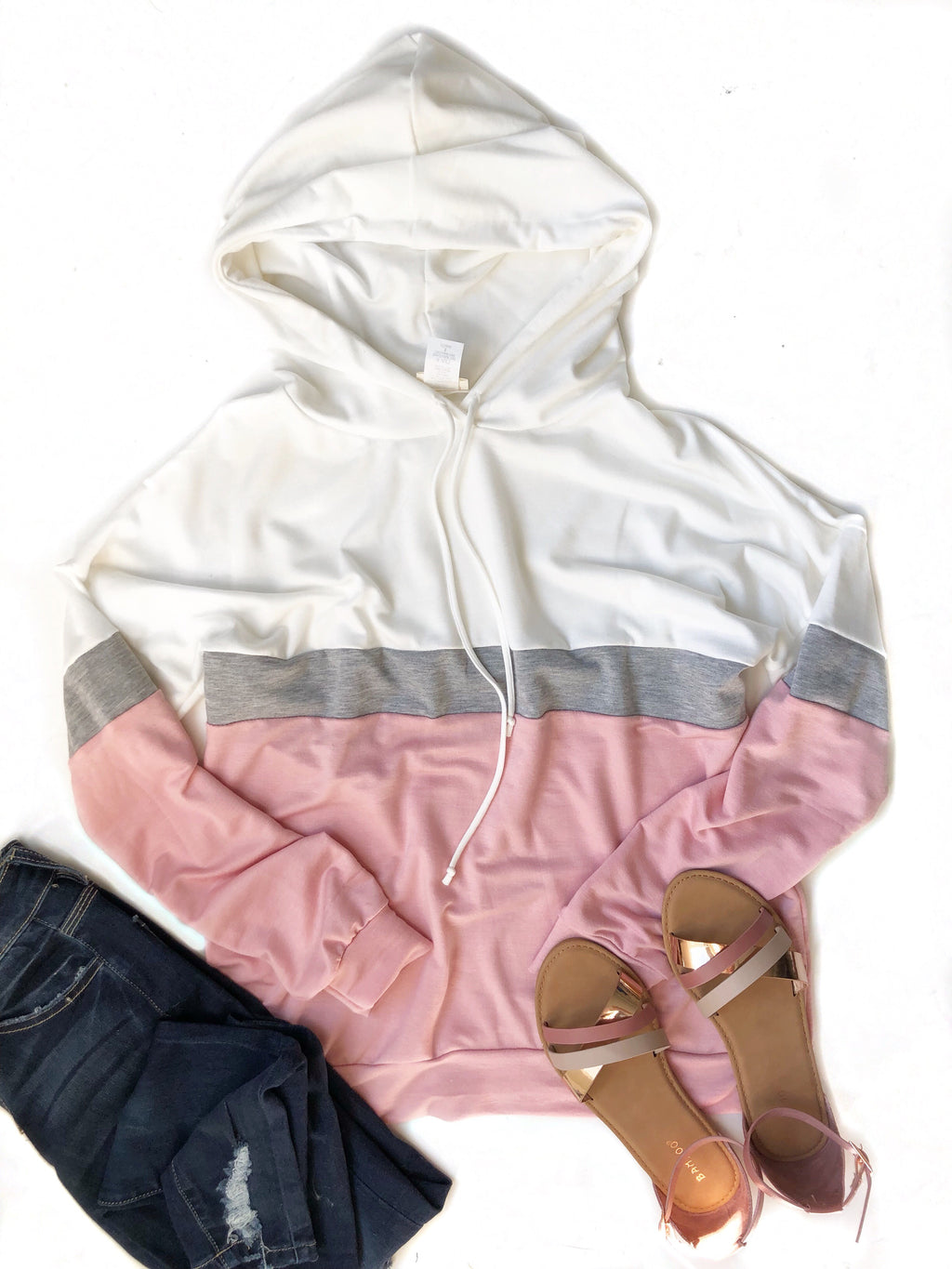 In My Heart Hoodie in White, Gray and Pink