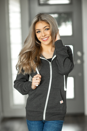Came Into My Life Zip-Up Hoodie in Charcoal