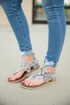 Very G Sparta Sandals in Patterned Cream