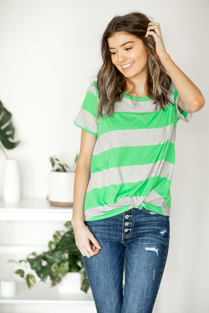 In A Pinch Striped Twist Tee in Gray and Green