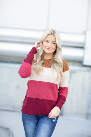Front Row Seat Color Block Striped Sweater
