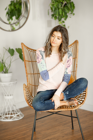 Say Hello Top in Pink with Stripes and Floral