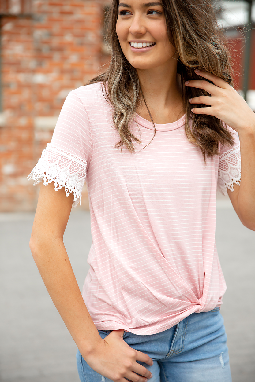 Fabulous Monday Pink Stripe Top with Lace