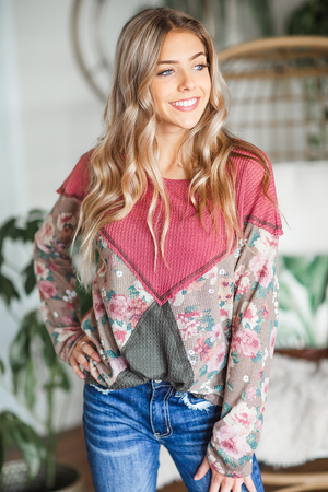 Beating Heart Floral Top in Rose