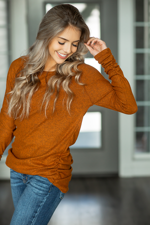 Baby It's Cold Knit Side Scrunch Tunic in Heather Rust