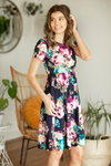 Had To Be You Floral Dress in Navy