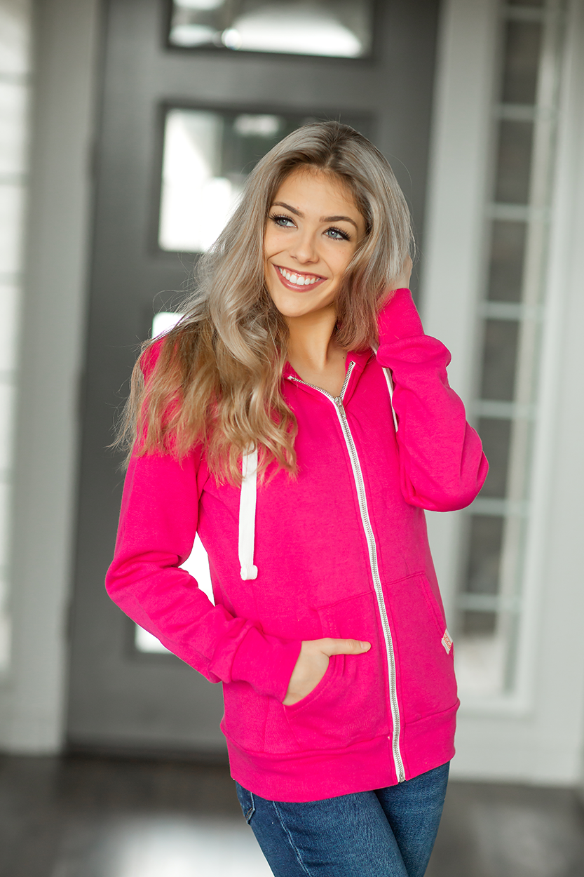 I'm Not Ready Zip-Up Hoodie in Fuchsia