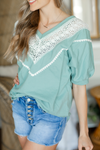 Give You Up Crochet Detailed Top in Teal