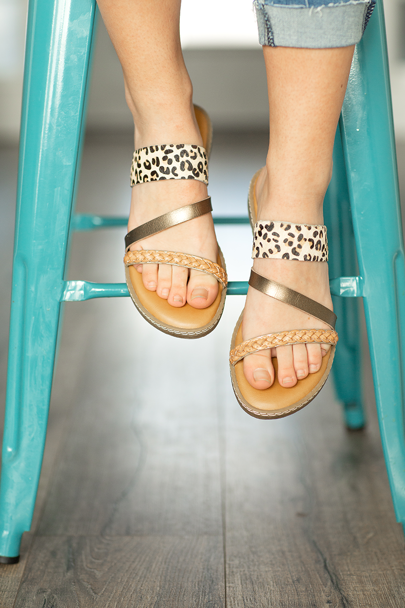 Blowfish Sandals in Braided Tan and Animal Print
