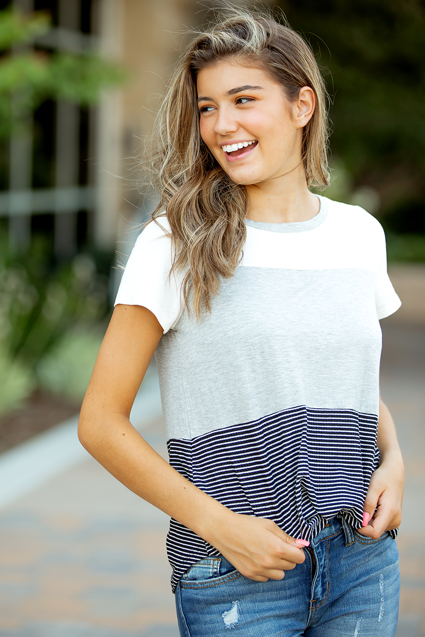 Heart Breaker Stripes and Grey Color Block Top