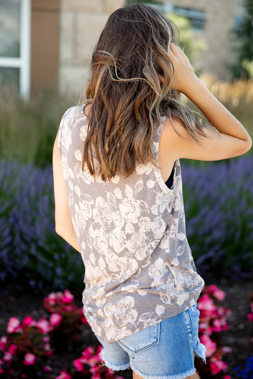 Always With You Mocha Rose Tank With Sequin Pocket