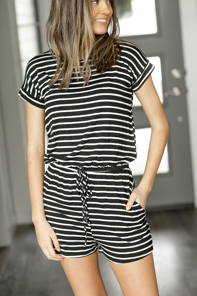 There She Goes Striped Romper in Black and White
