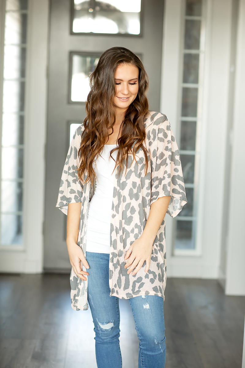 Carry On Cardigan in Light Pink Animal Print