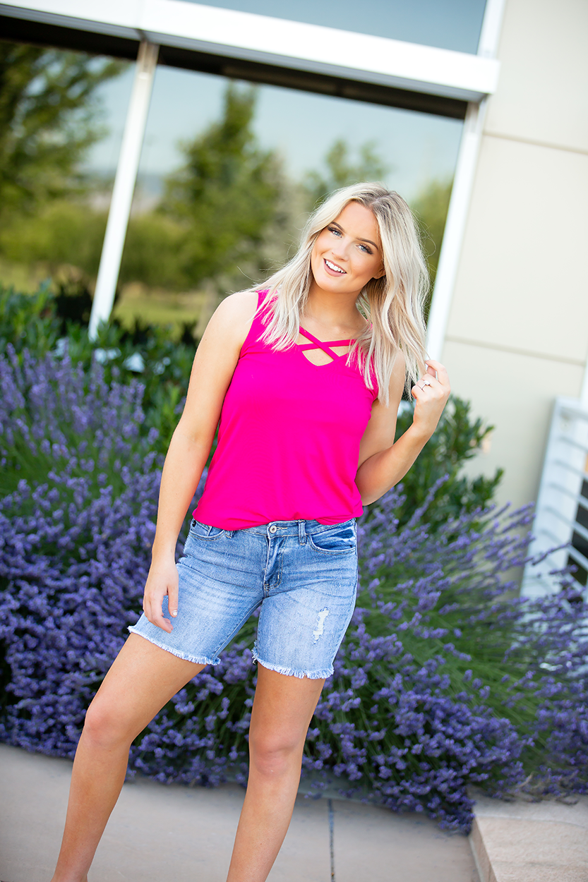 Foolish Love Criss Cross Tank in Fuchsia