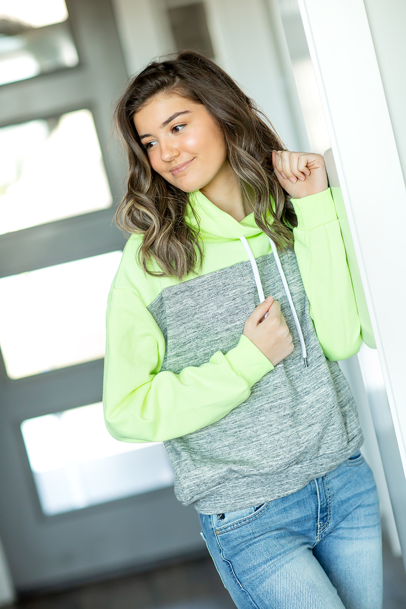 Favorite Things Cowl Hoodie in Neon Yellow