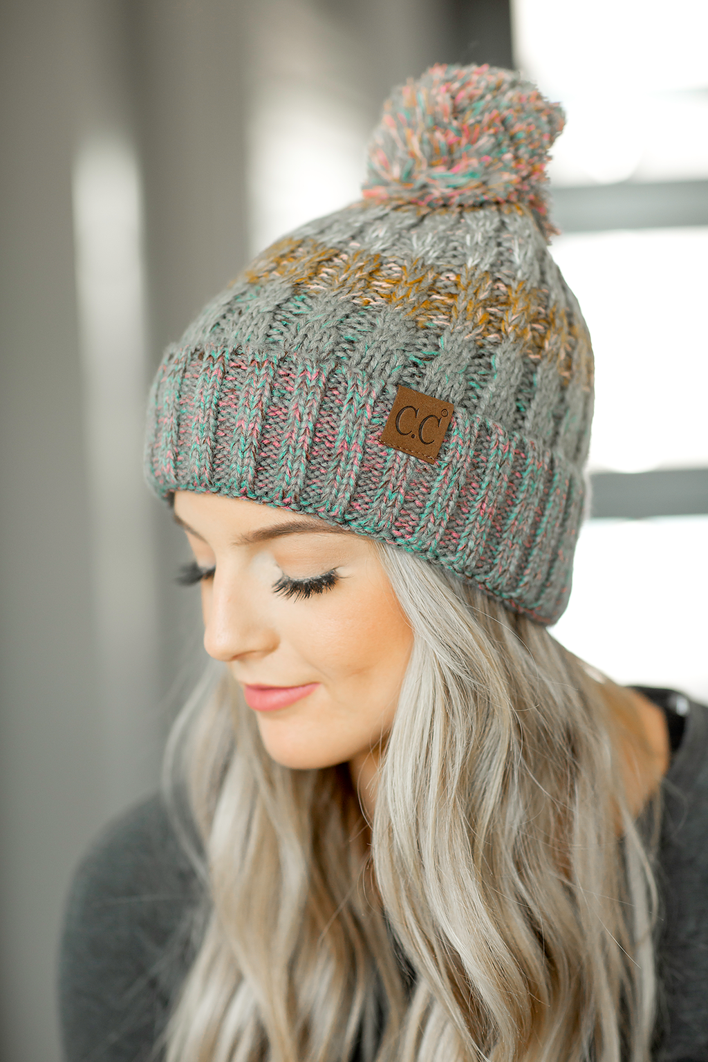 CC Knit Pom Beanie in Multi Colored Gray