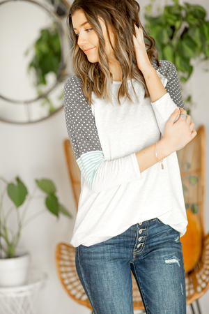Lost In Your Eyes Top in Gray and Navy Polka Dots