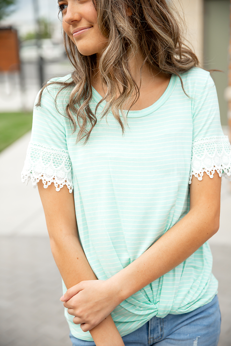 Fabulous Tuesday Mint Stripe Top with Lace