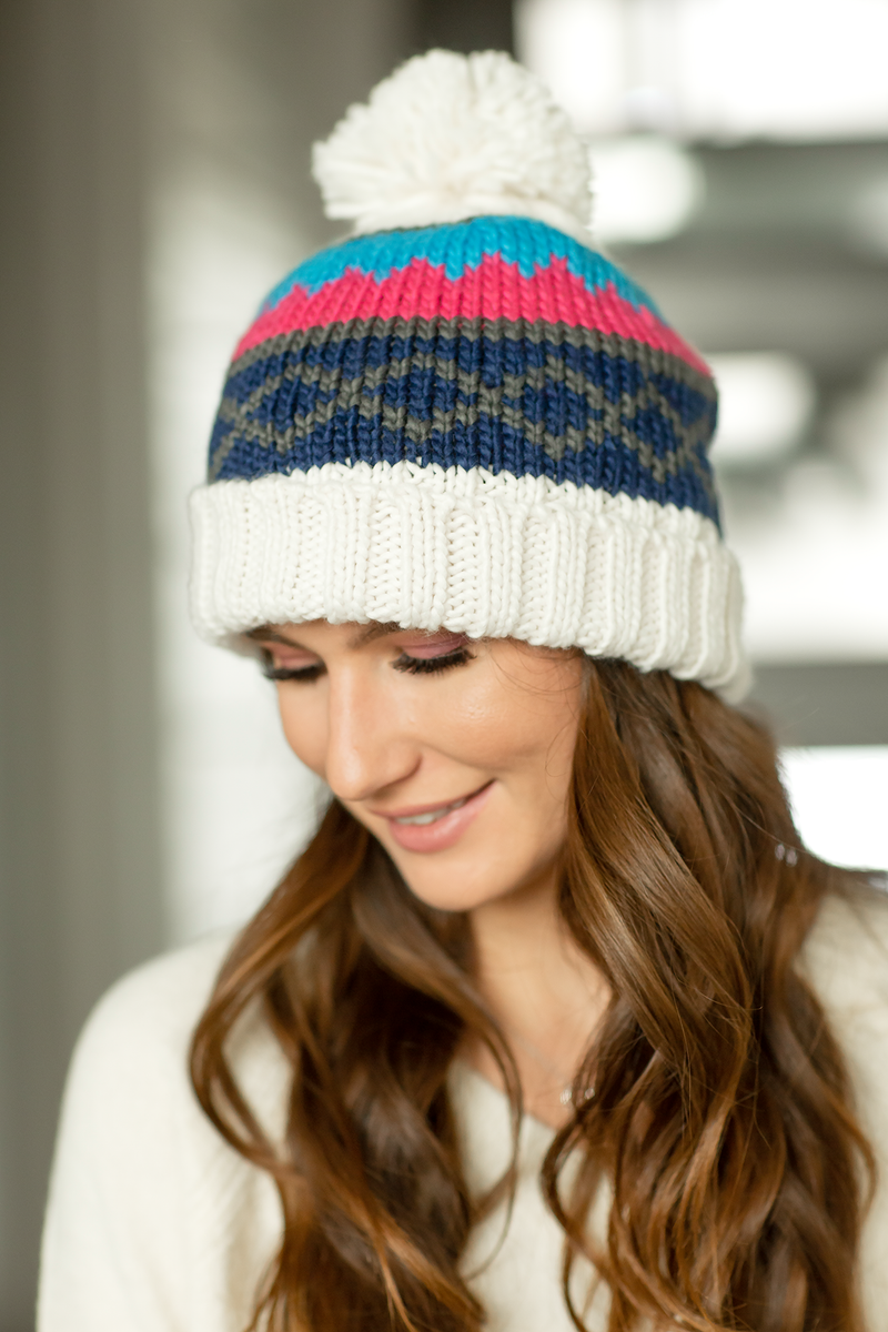 Cozy Knit Pom Beanie in Ivory, Pink and Blue