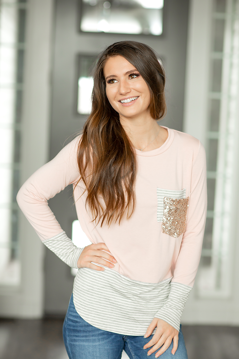 Hidden Treasure Sequin Pocket Top in Pink