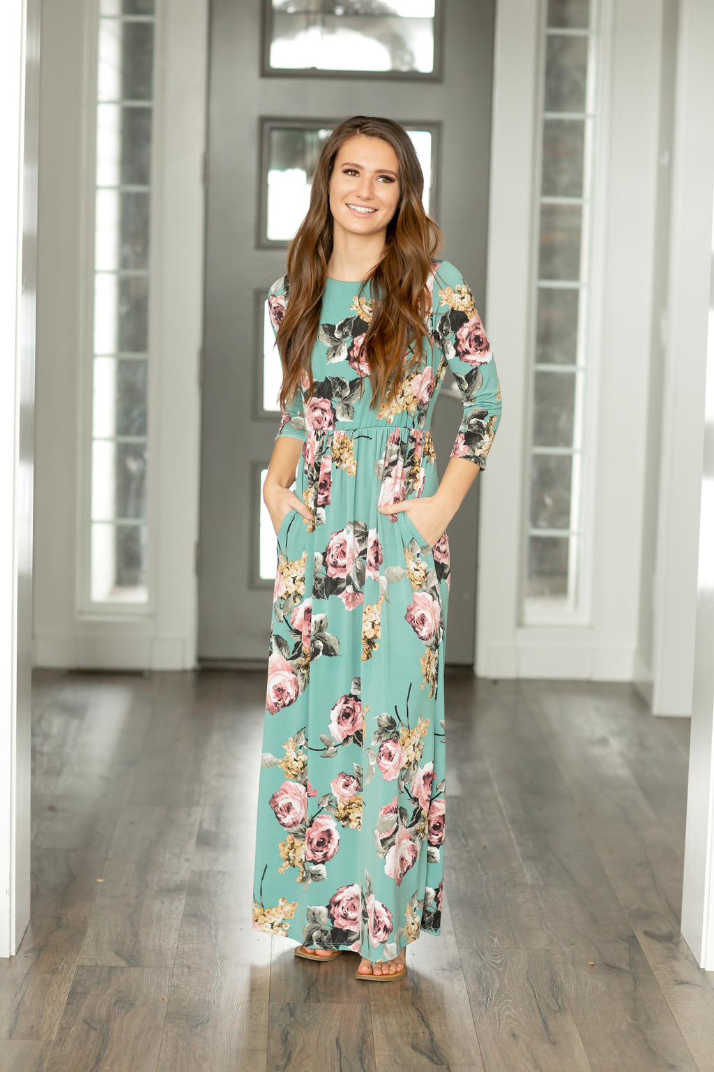Just For Fun Deep Turquoise Floral Maxi Dress
