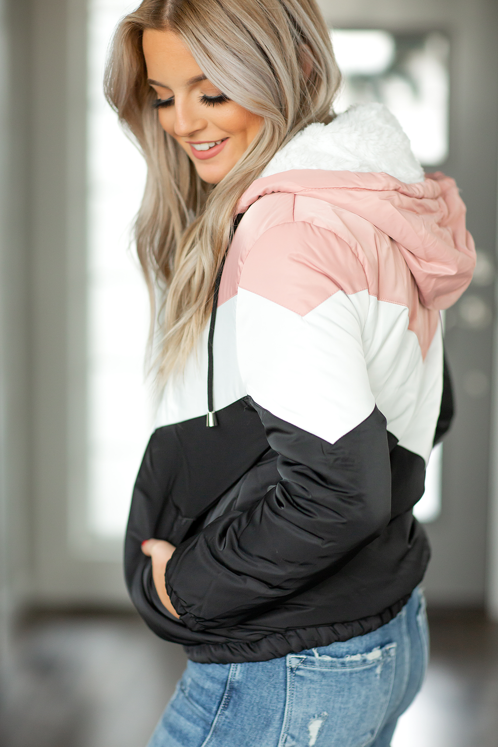 Ready for Action Puffer Jacket in Black, White and Pink