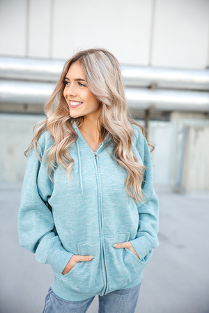 Love Rules Zip-Up Hoodie in Smoky Blue