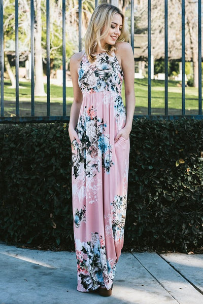 Keep Dreaming Floral Dress in Dusty Pink