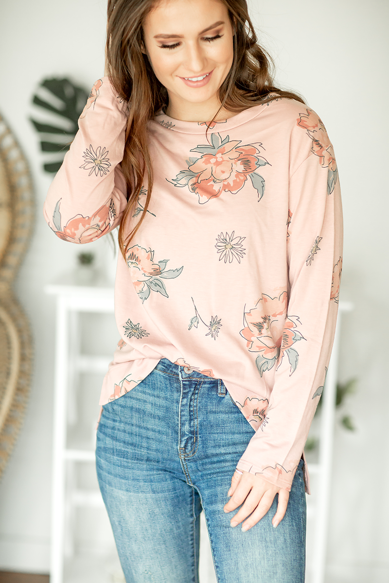 Daydreaming Dusty Pink Floral Top