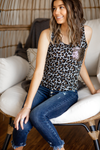 Call Me Yours Tank with Sequin Pocket in Gray Animal Print