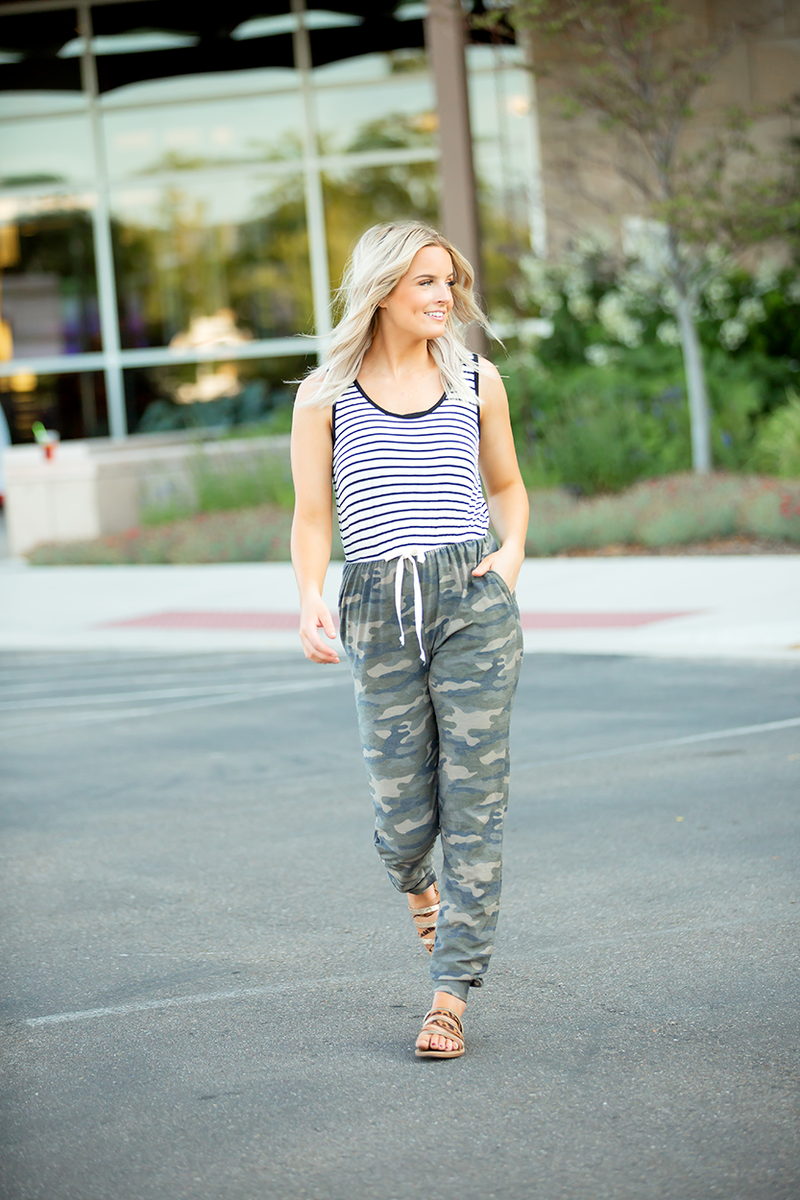 Free Flow Camo and Black Stripe Jumpsuit