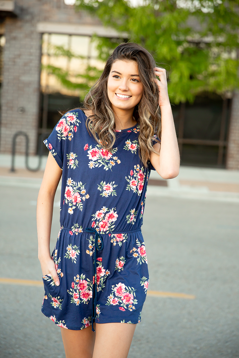Next In Line Floral Romper in Navy