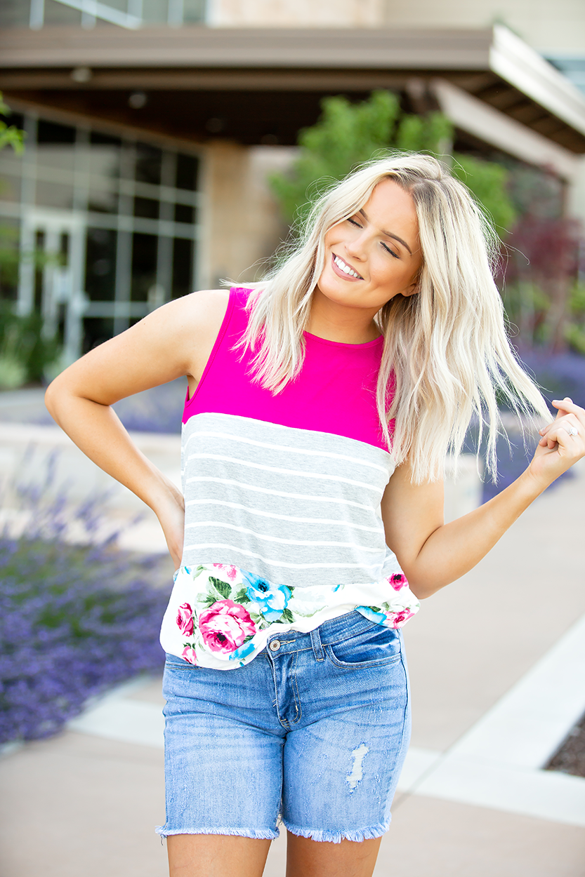 French Kiss Floral Fuchsia Block Grey Stripe Tank