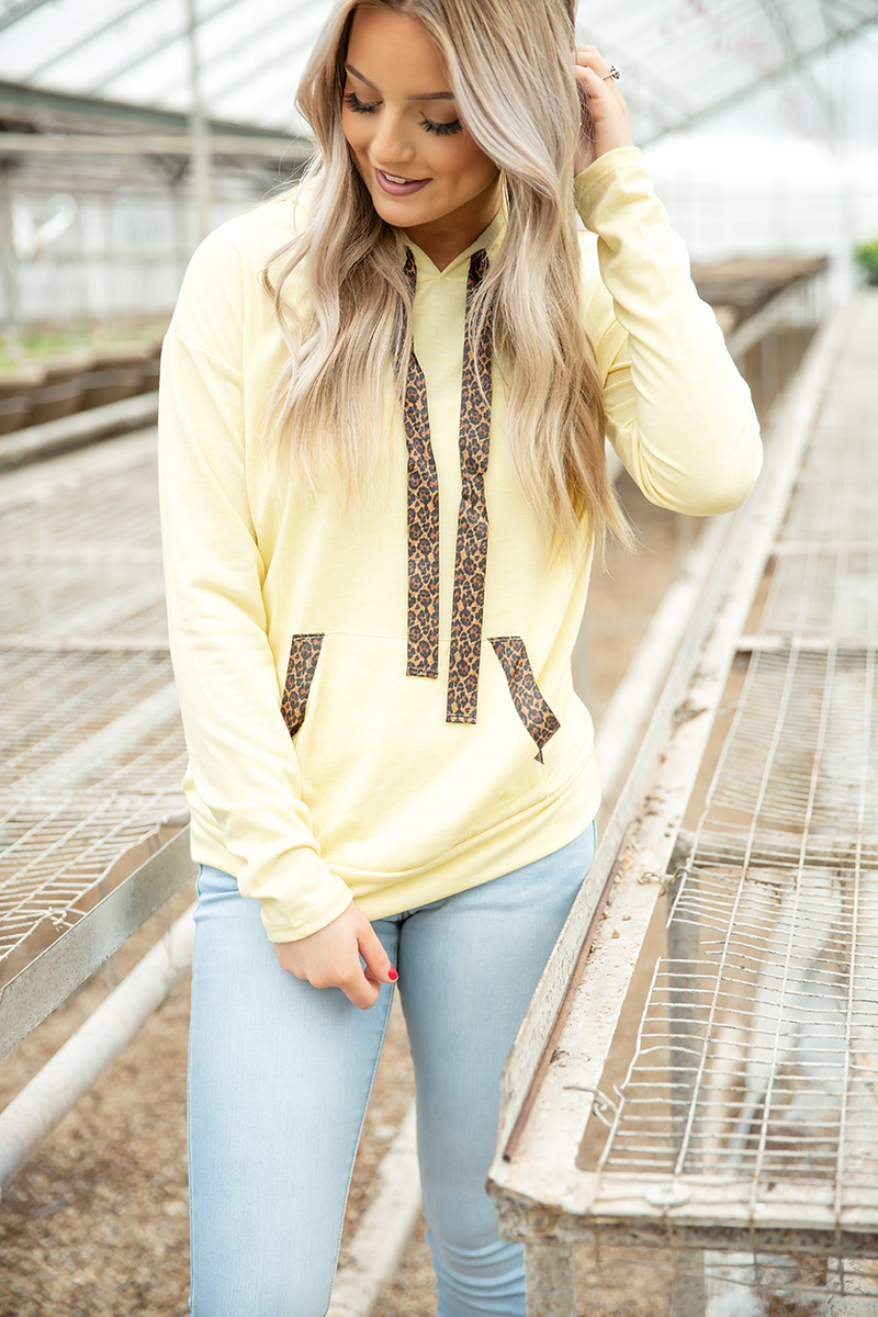 Wake Up and Shine Hoodie with Animal Print Details