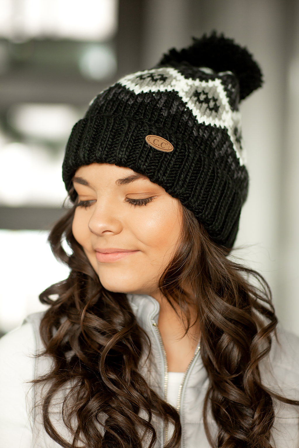 CC Knit Pom Beanie in Designer Black and Gray